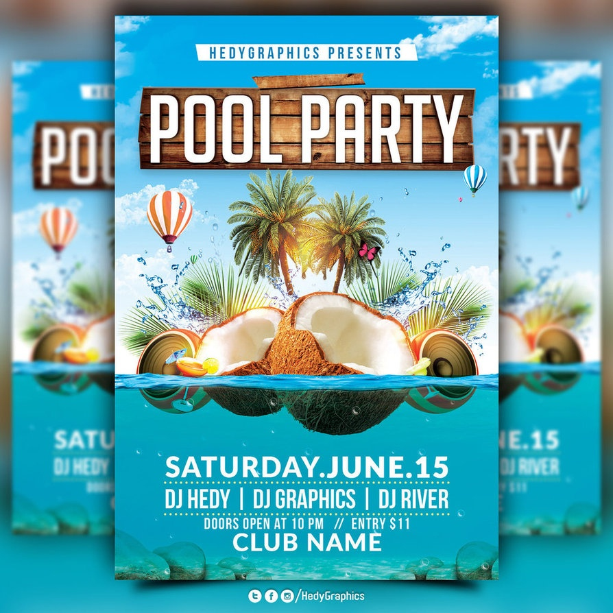 Pool Party Flyer - Kaza.psstech.co - Pool Party Flyers Free Printable