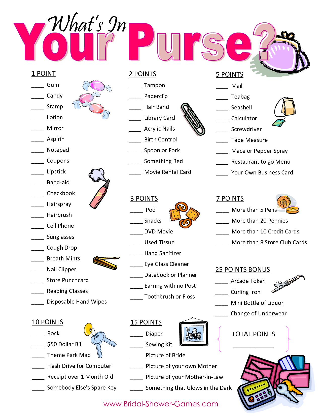 Popular Wedding Shower Games For Free | Business Ideas | Bridal - Free Printable Baby Shower Game What's In Your Purse