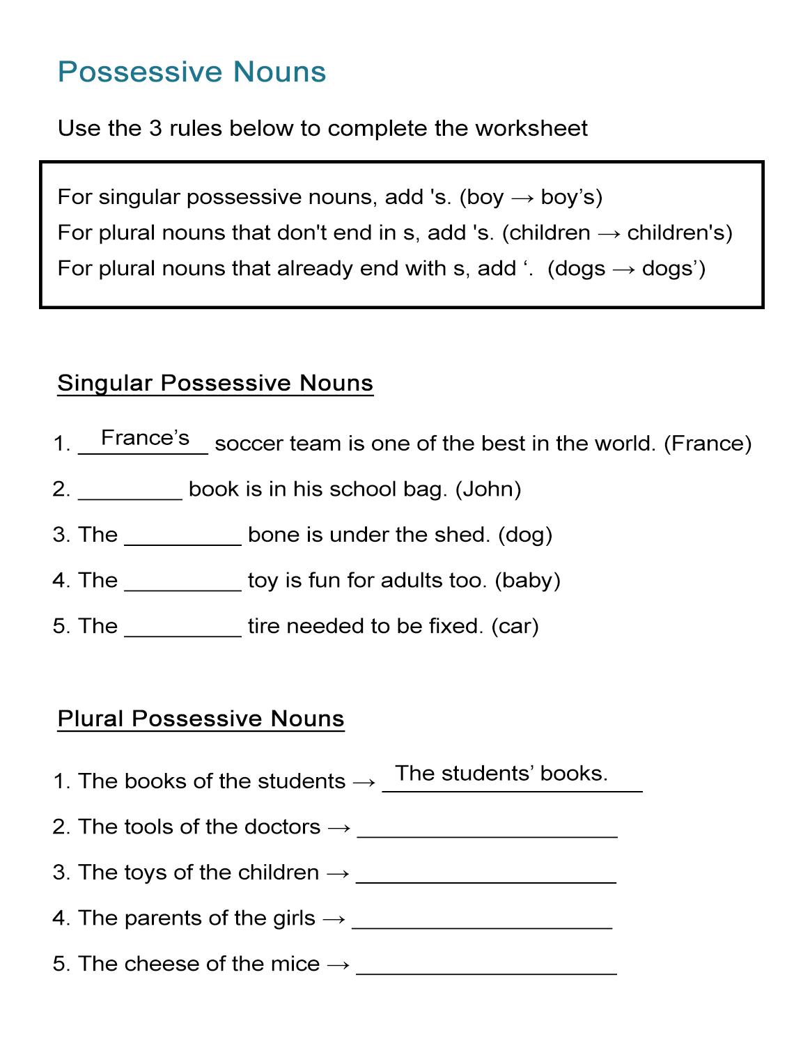 Possessive Nouns Worksheet: Singular And Plural Nouns - All Esl - Free Printable Possessive Nouns Worksheets