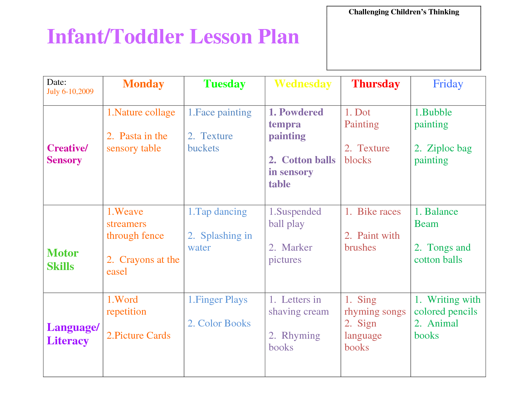 Preschool Curriculum Themes | Toddler Lesson Plan Template - Free Printable Lesson Plans For Toddlers