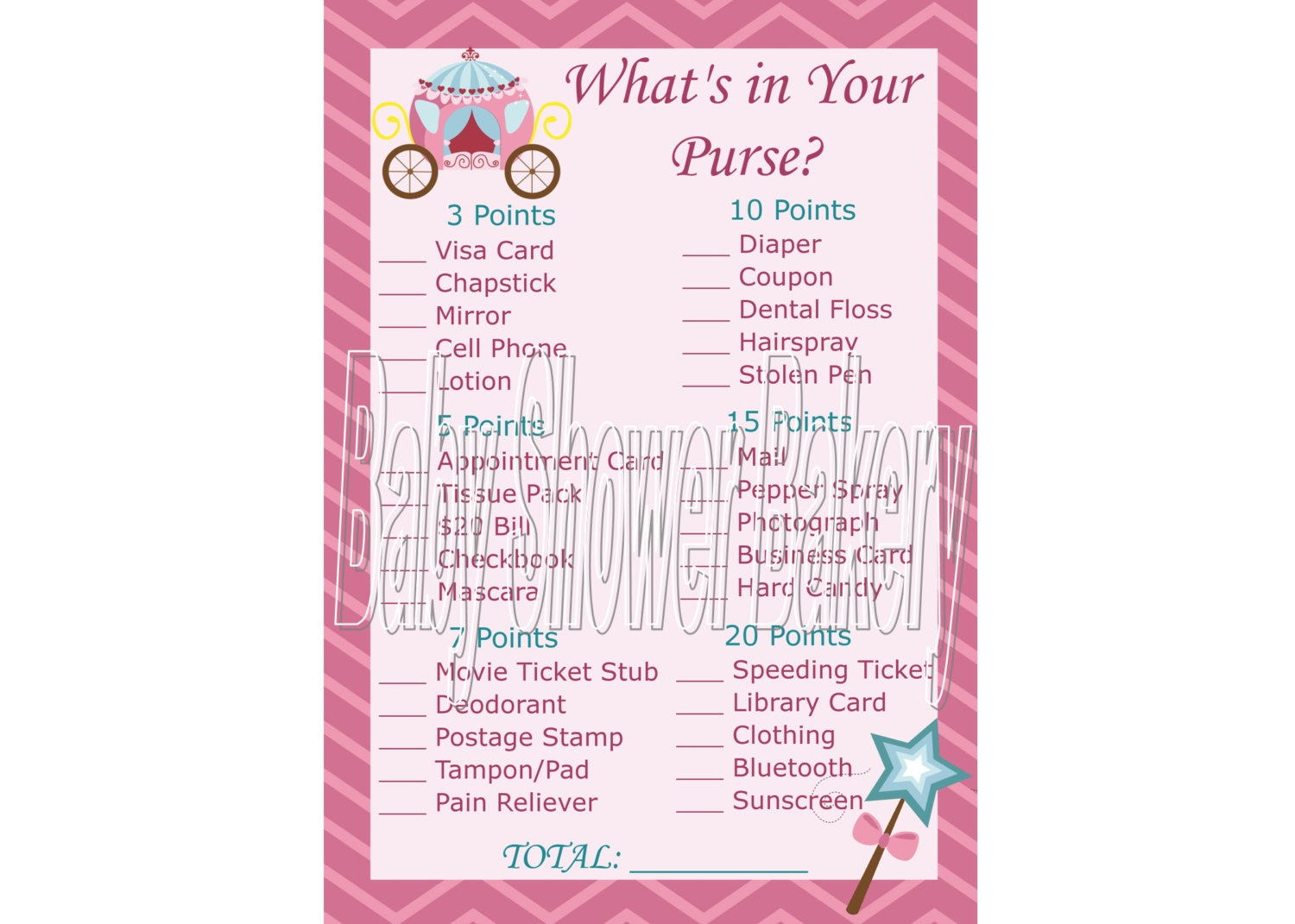 Princess Baby Shower Game Princess Theme Baby Shower | Etsy - Free Printable Baby Shower Game What's In Your Purse