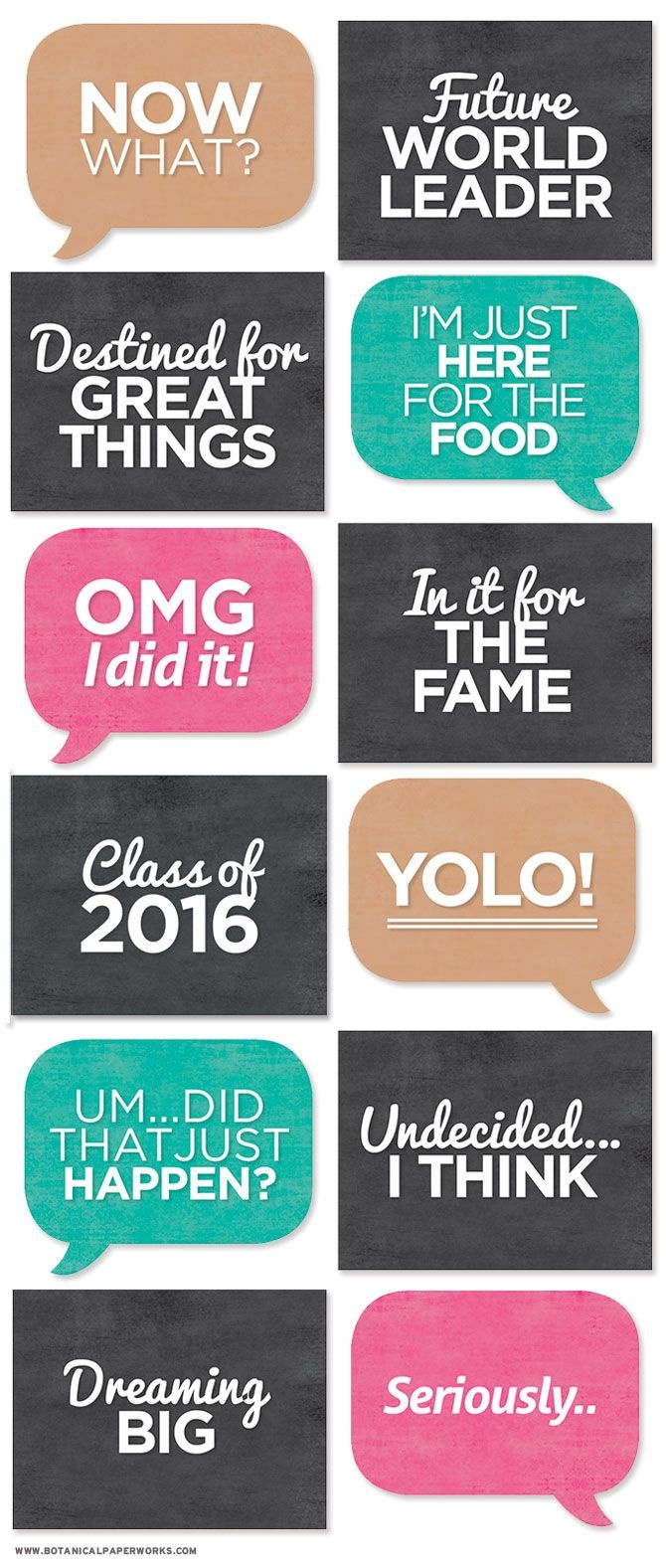Print Off All These Signs To Add Some Character To Grad Photos - Free Printable Photo Booth Sign