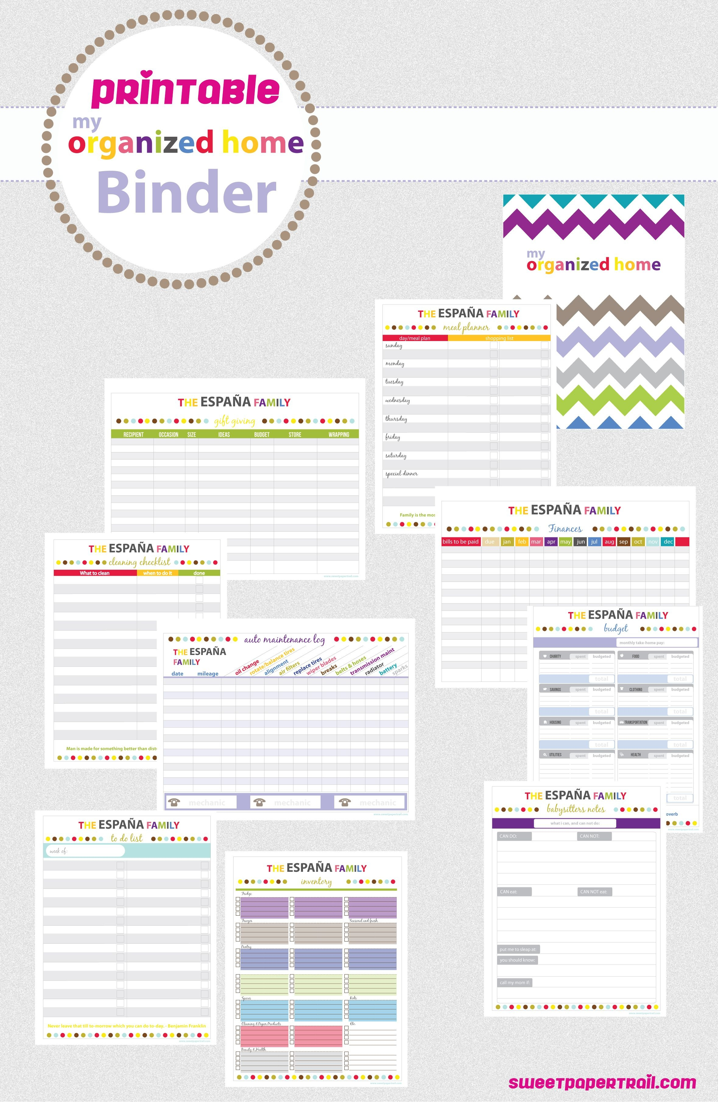 Printable 2013 Planner | Budget | Binder Organization, Home - Free Printable Home Organizer Notebook