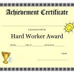 Printable Achievement Certificates Kids   Hard Worker Achievement   Free Printable Honor Roll Certificates Kids