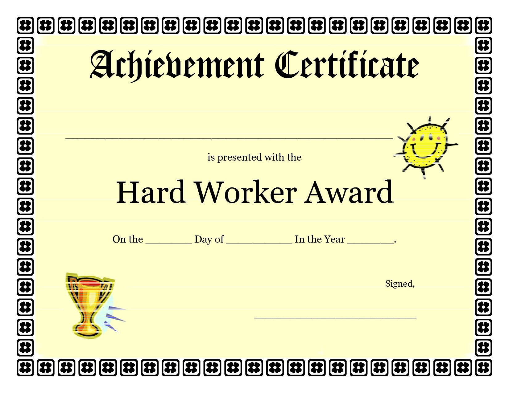 Printable Achievement Certificates Kids   Hard Worker Achievement - Free Printable Honor Roll Certificates Kids