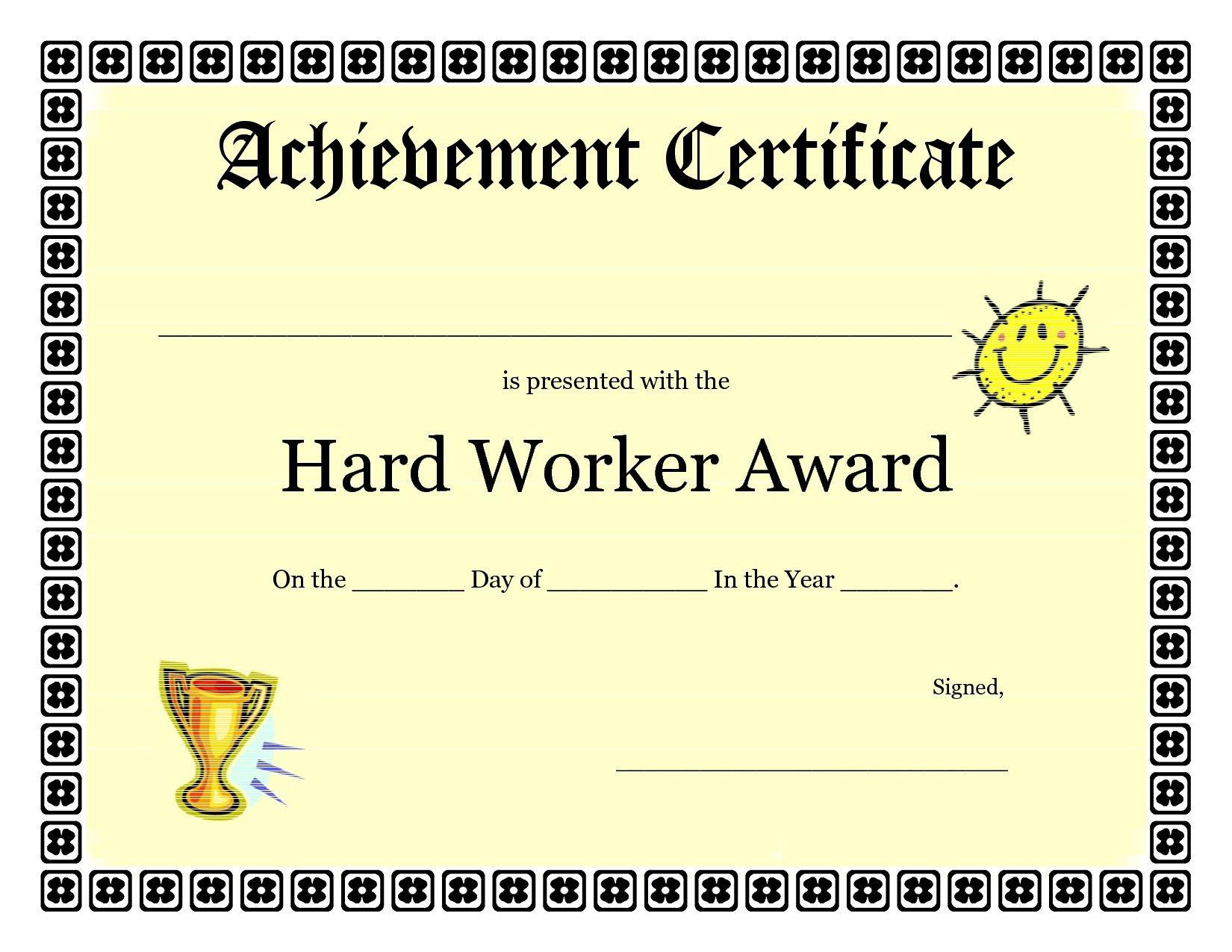Printable Achievement Certificates Kids | Hard Worker Achievement - Free Printable Swimming Certificates For Kids