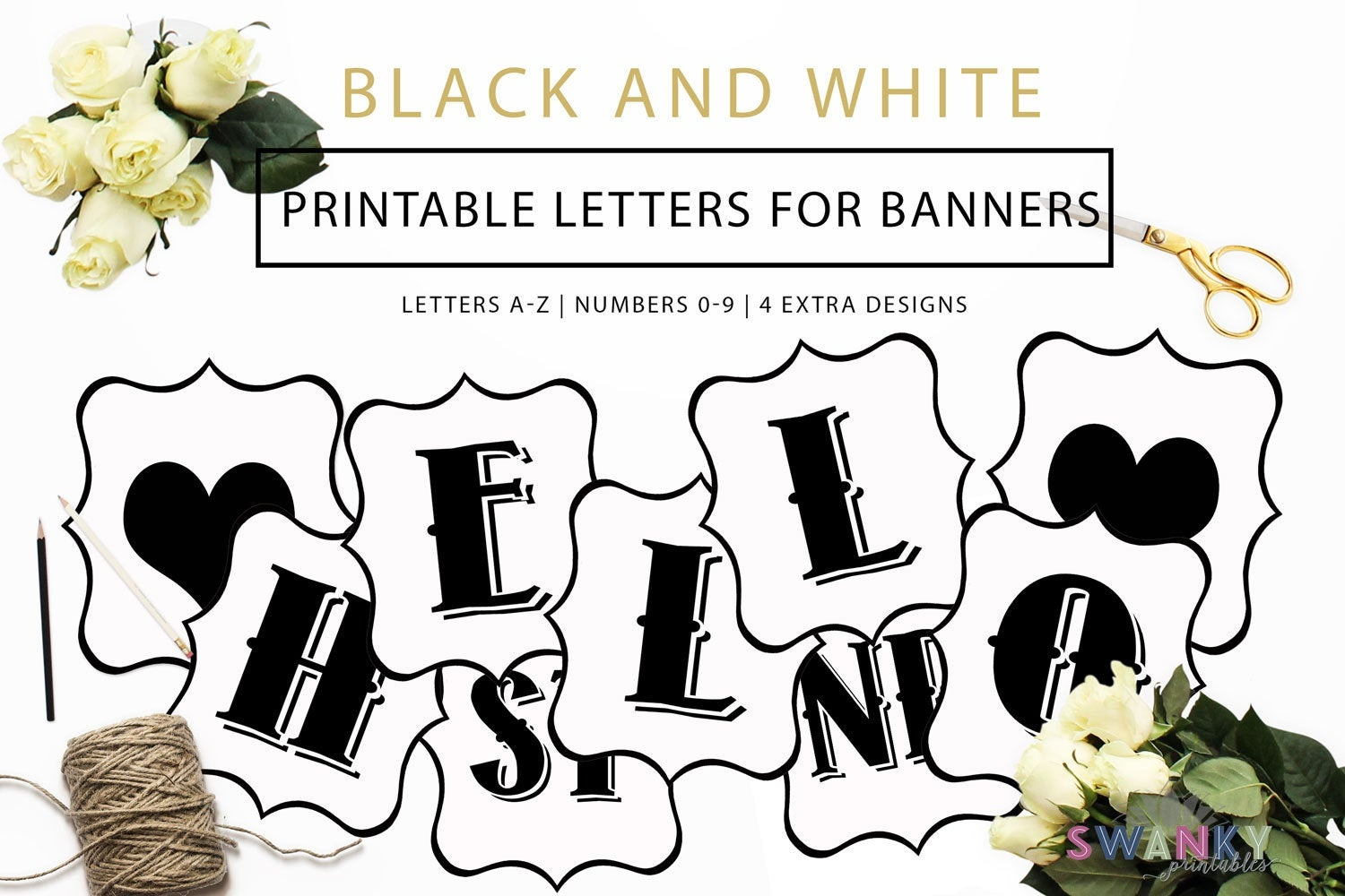 Printable Banner Letters Black And White Letters Make Your | Etsy - Diy Swank Free Printable Letters