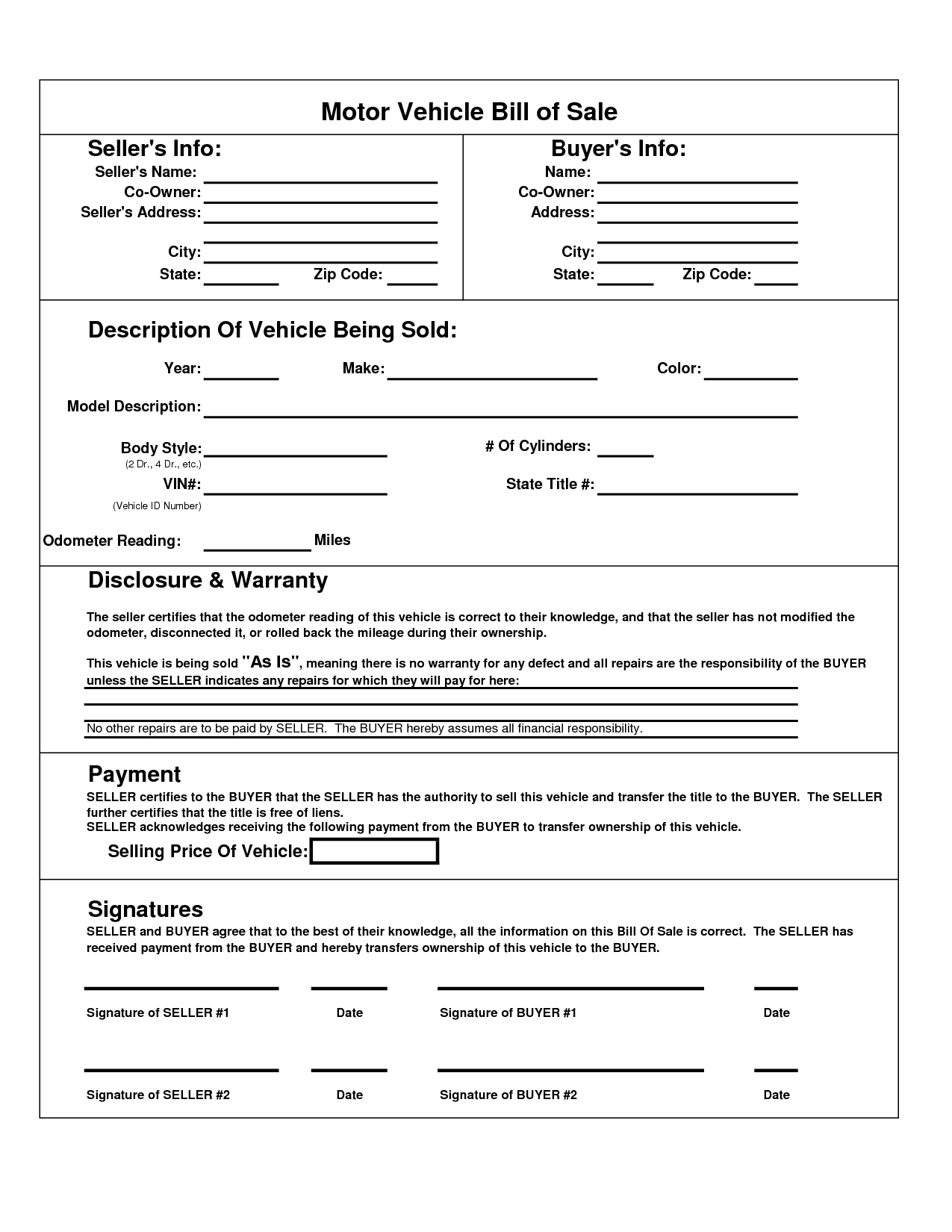 Printable Car Bill Of Sale Pdf | Bill Of Sale For Motor Vehicle - Free Printable Blank Auto Bill Of Sale