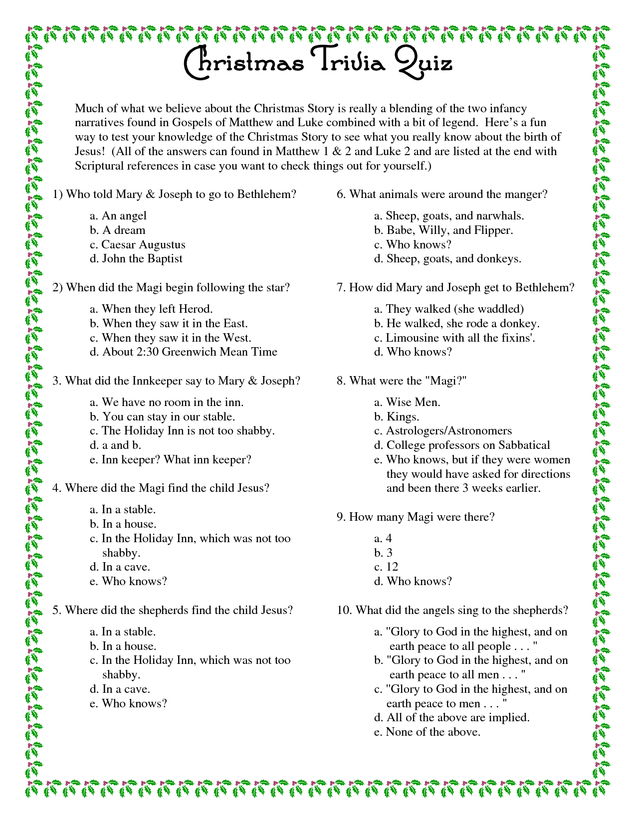 Printable Christmas Trivia Questions And Answers | Christmas Party - Free Printable Trivia Questions For Seniors