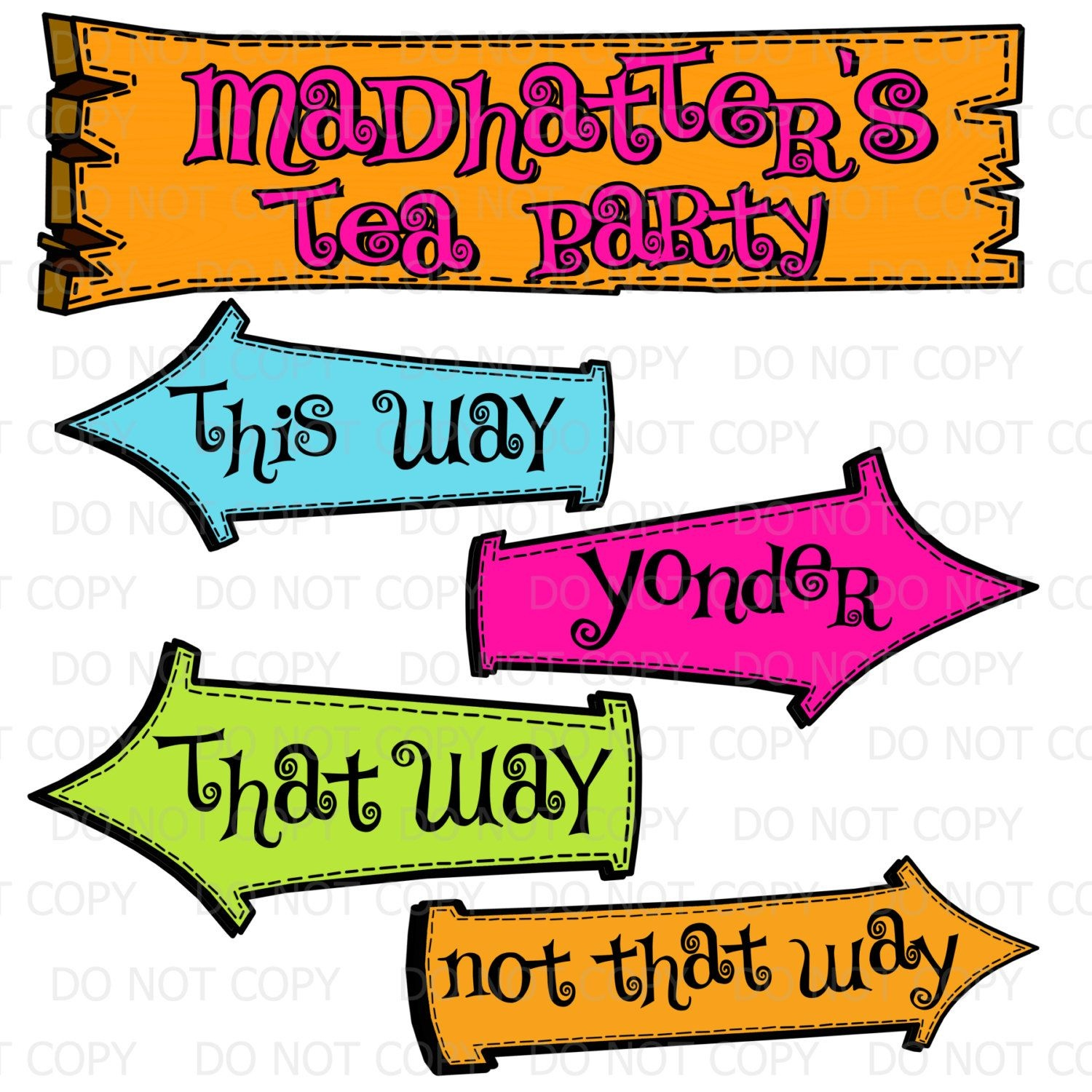 Printable Diy Madhatter's Tea Party Sign And Arrows | Birthday Party - Alice In Wonderland Signs Free Printable