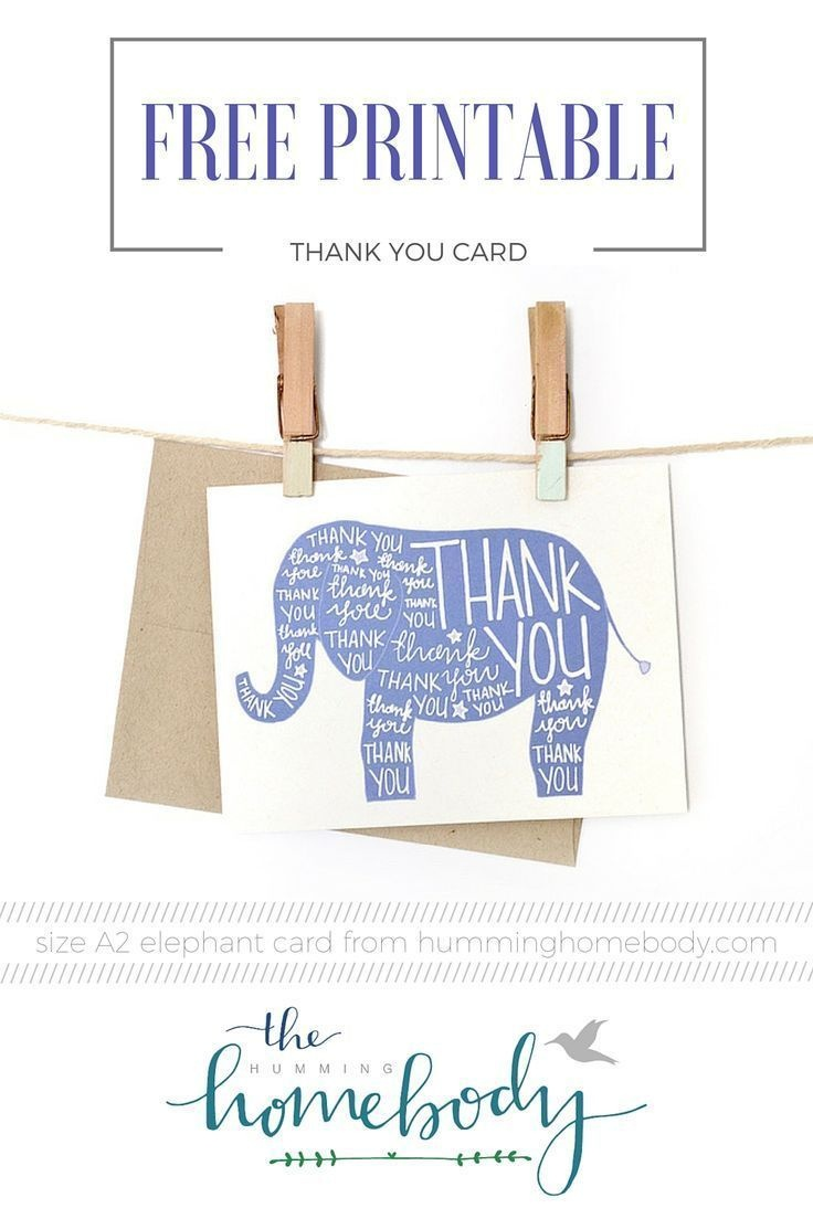 Printable Elephant Thank You Card | Printables | The Best Downloads - Free Printable Baby Shower Thank You Cards