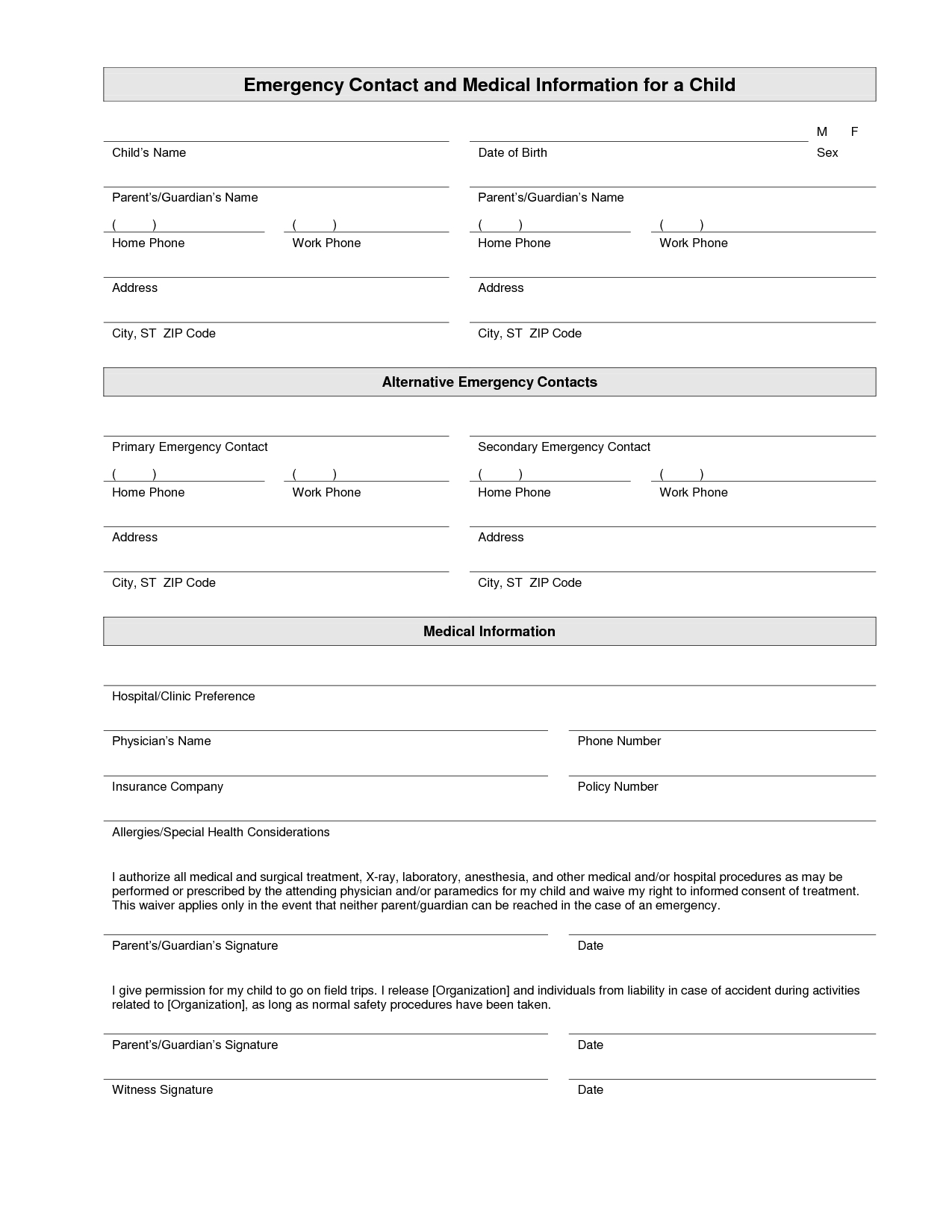 Printable Emergency Contact Form Template | Home Daycare | Emergency - Free Printable Parent Information Sheet