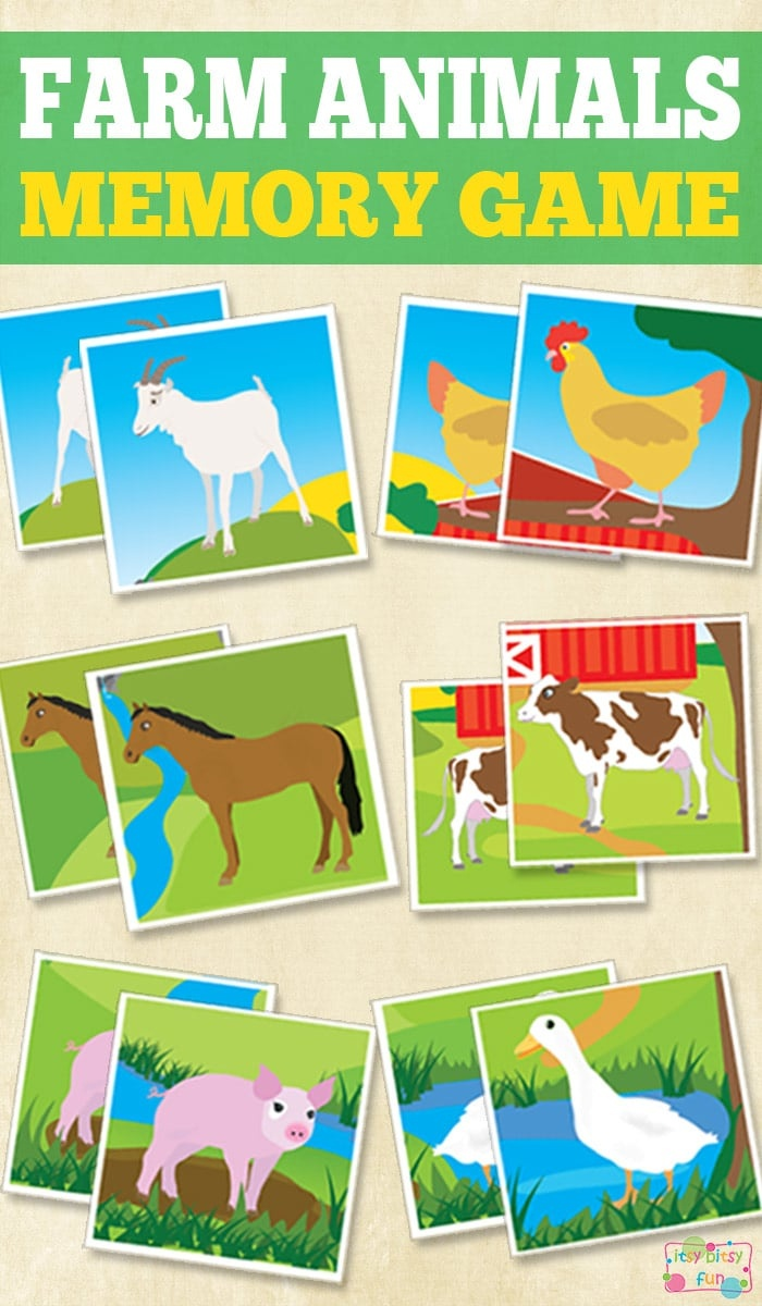 Printable Farm Animals Memory Game - Itsy Bitsy Fun - Free Printable Farm Animals