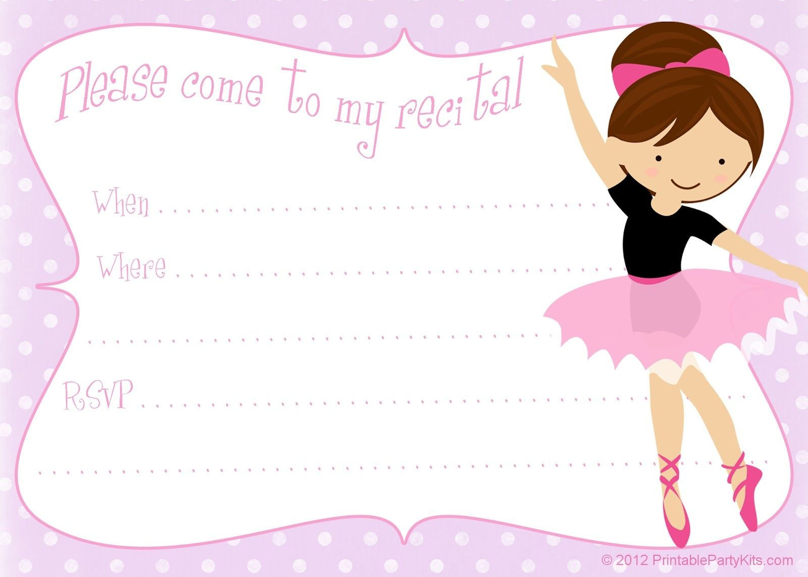 Printable Free Dance Recital Invitation Template From - Free Printable Dance Recital Cards