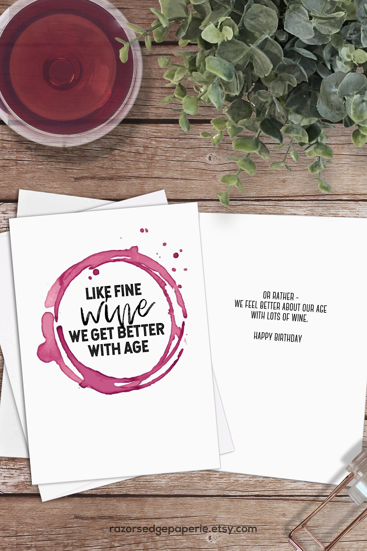 Printable Funny Wine Birthday Card Instant Download // Fine Wine - Free Printable Funny Birthday Cards