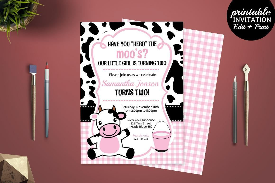 Printable Girl Birthday Party Invitation Template. Cow Birthday - Free Printable Cow Birthday Invitations