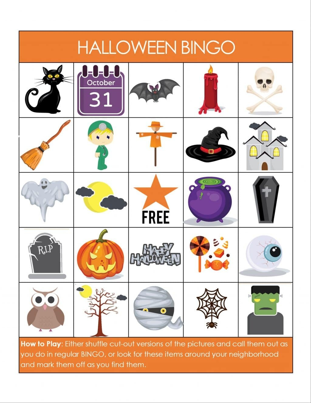 Printable Halloween Bingo Game - Glue Sticks And Gumdrops - Free Printable Halloween Bingo