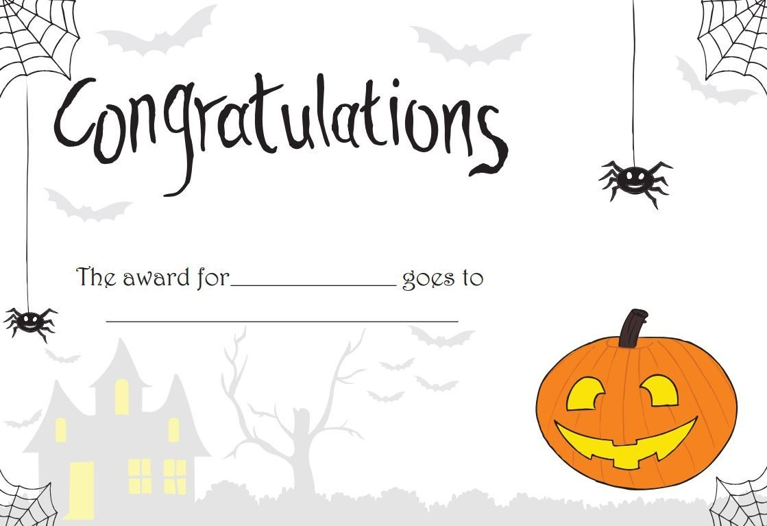 Printable Halloween Certificate - Great For Teachers Or For - Best Costume Certificate Printable Free