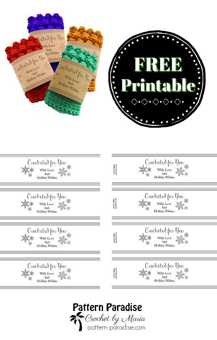 Printable: Holiday Crocheted For You Template | Dishcloth | Holiday - Free Printable Dishcloth Wrappers