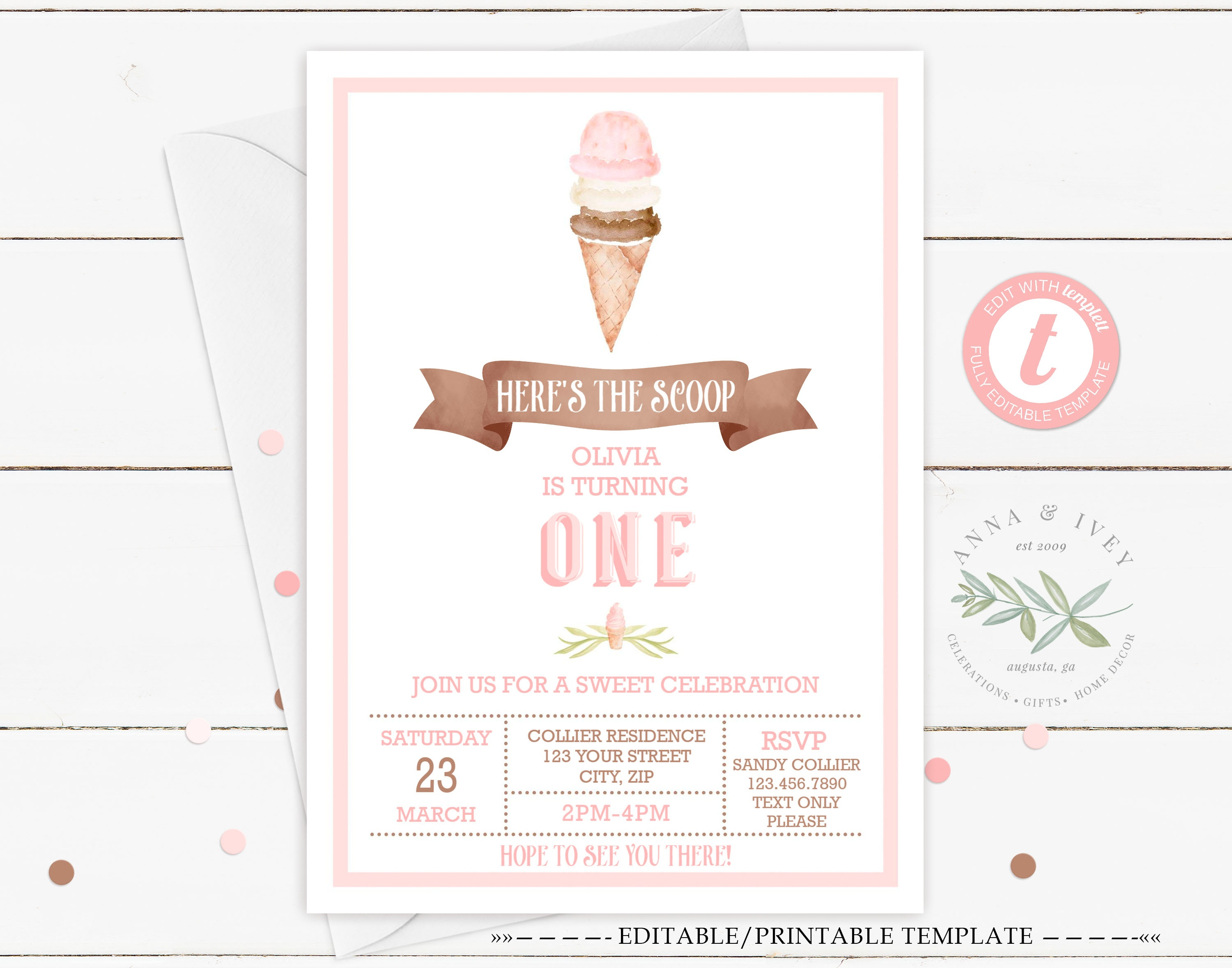 Printable Ice Cream Party Invitation- White - Anna & Ivey - Ice Cream Party Invitations Printable Free