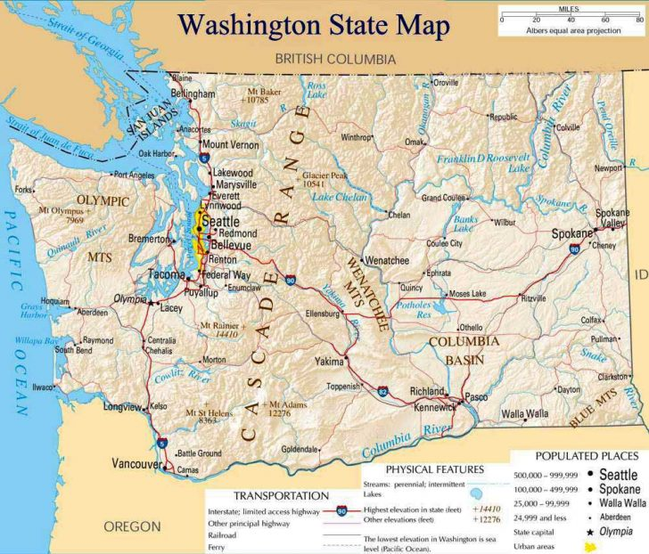 Free Printable Map Of Washington State