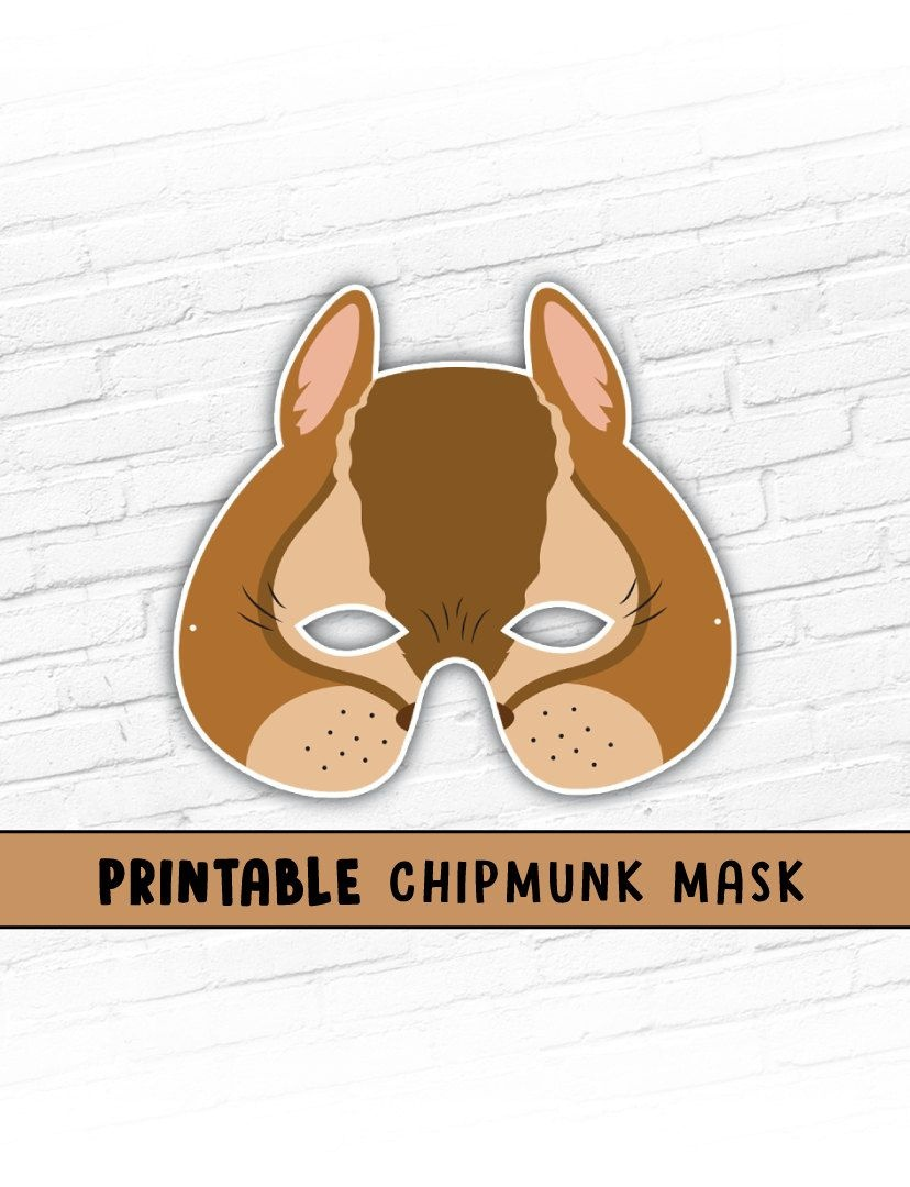 Printable Mask, Halloween, Animal Mask, Chipmunk Mask, Alvin - Free Printable Chipmunk Mask