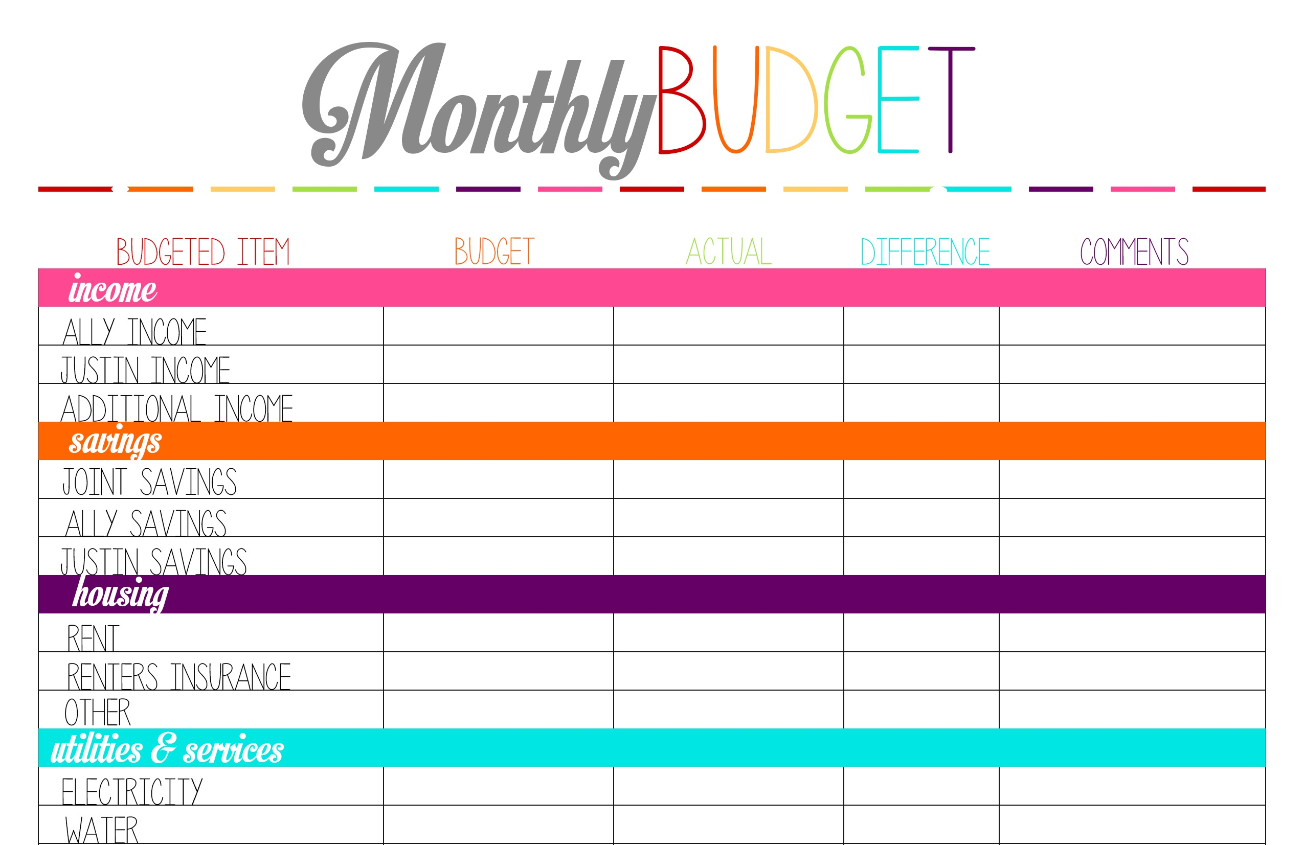 Printable Monthly Budget Forms - Kaza.psstech.co - Free Printable Budget Forms