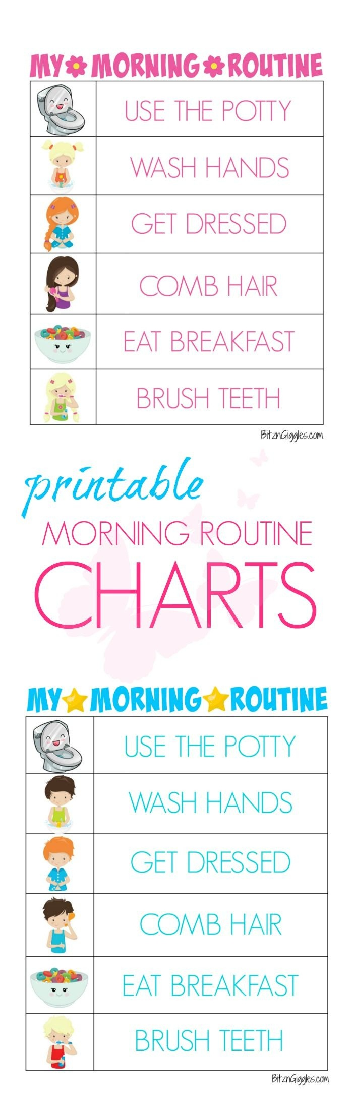 Printable Morning Routine Charts | Bloggers' Fun Family Projects - Free Printable Morning Routine Chart