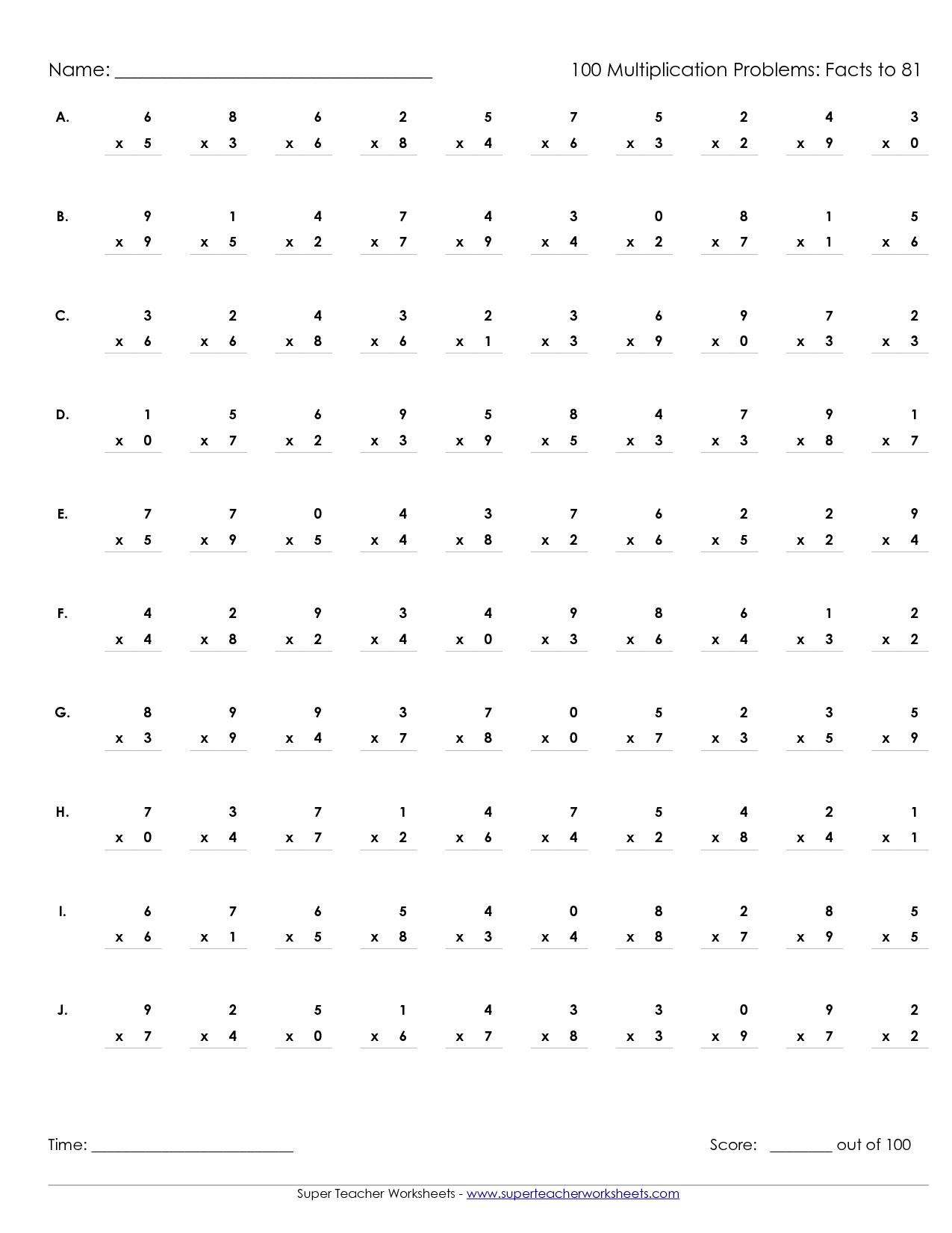 Printable Multiplication Worksheets 100 Problems | Math' S - Free Printable Multiplication Speed Drills