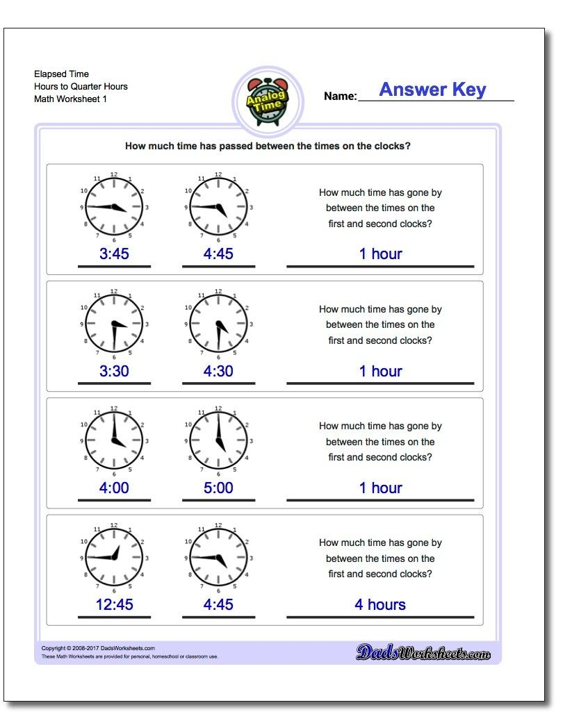 Printable Pdf Analog Elapsed Time Worksheets | Math Worksheets - Elapsed Time Worksheets Free Printable