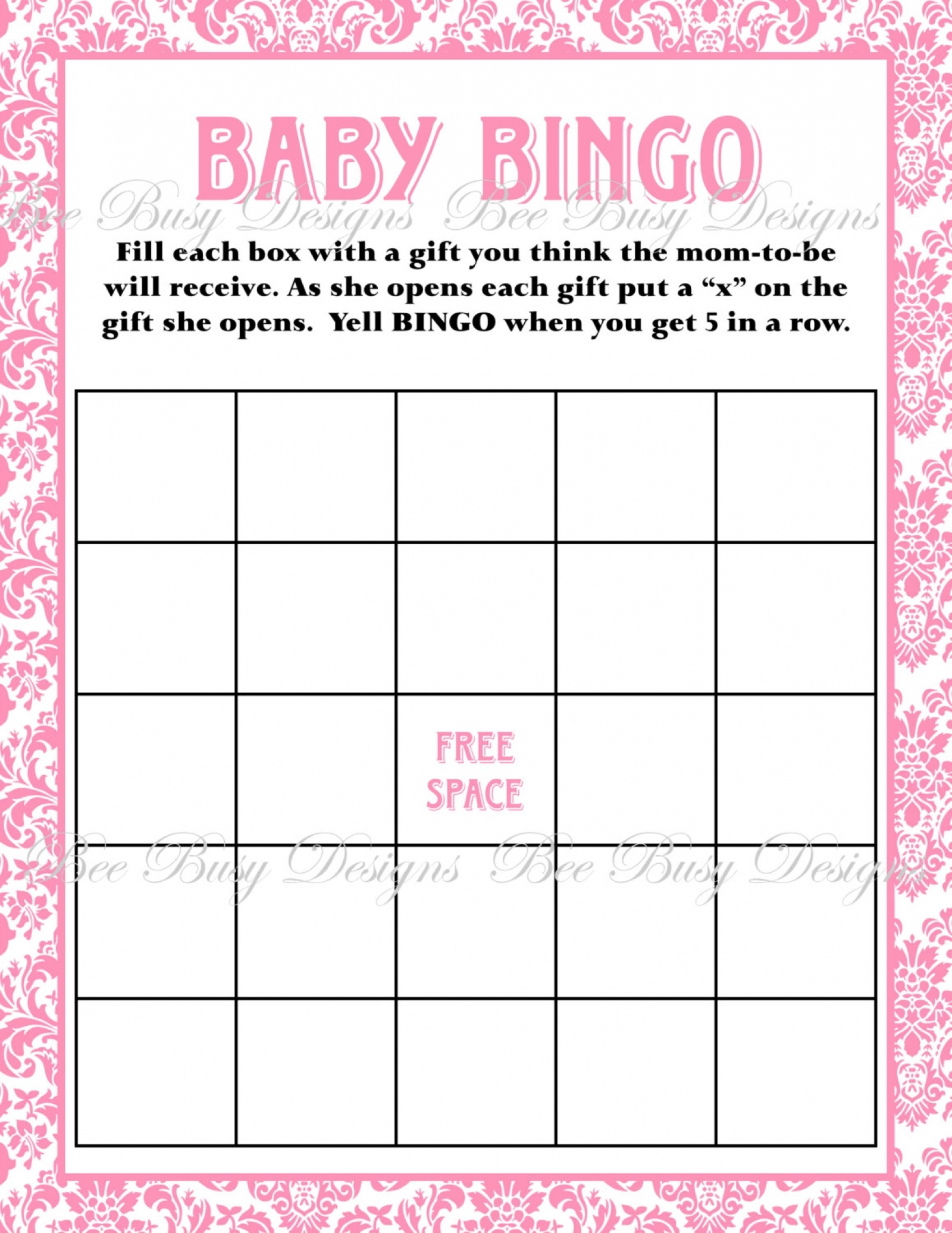 Printable Pink Damask Baby Shower Bingo Game Instant Download | Bee - Baby Bingo Game Free Printable