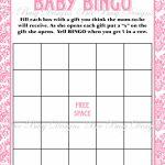 Printable Pink Damask Baby Shower Bingo Game Instant Download | Bee   Printable Baby Shower Bingo Games Free