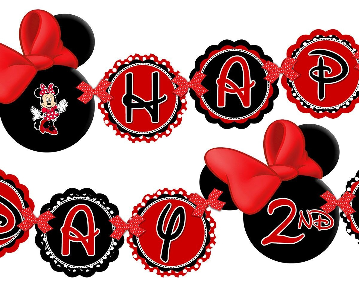 Printable Red Minnie Mouse Happy Birthday Banner, Minnie Mouse Red - Free Printable Minnie Mouse Birthday Banner