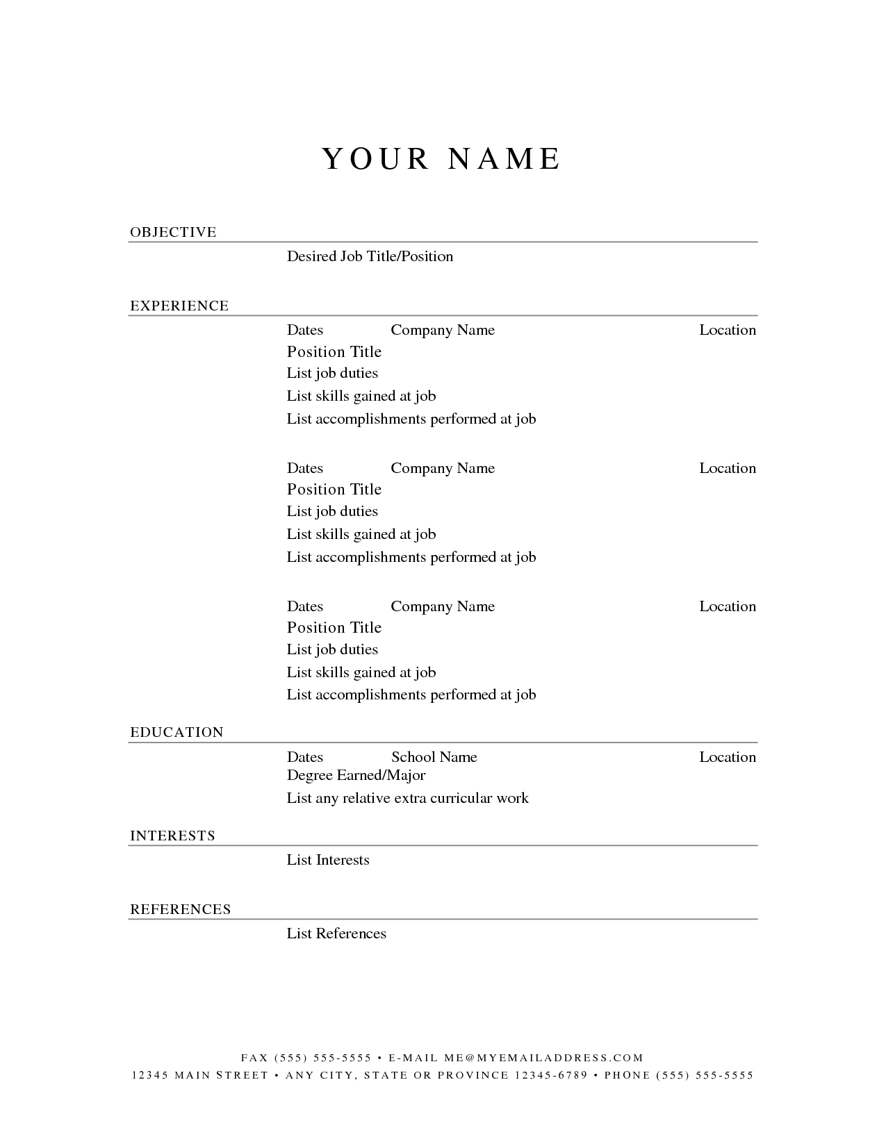 Printable Resume Templates | Free Printable Resume Template - Free Printable Resume