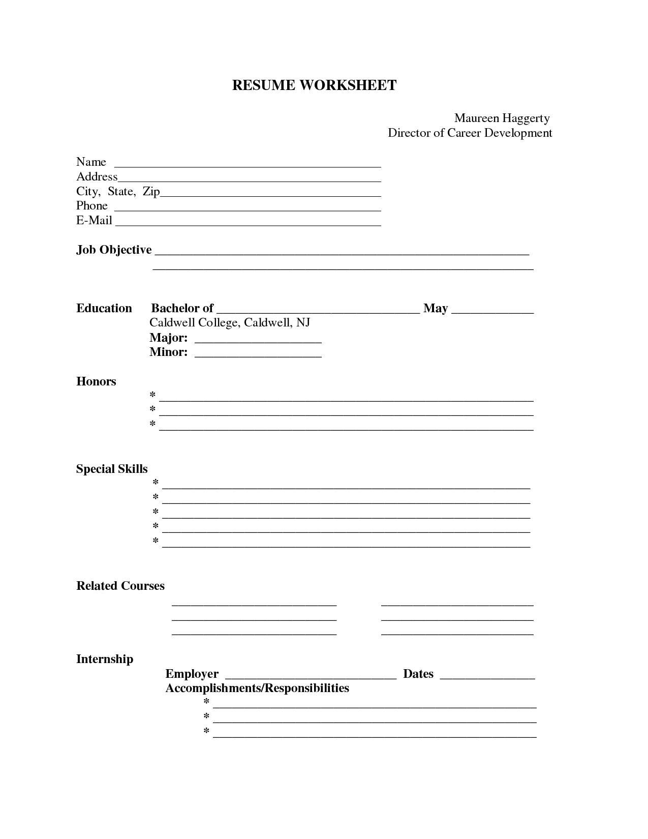 Printable Resumes - Kaza.psstech.co - Free Printable Blank Resume