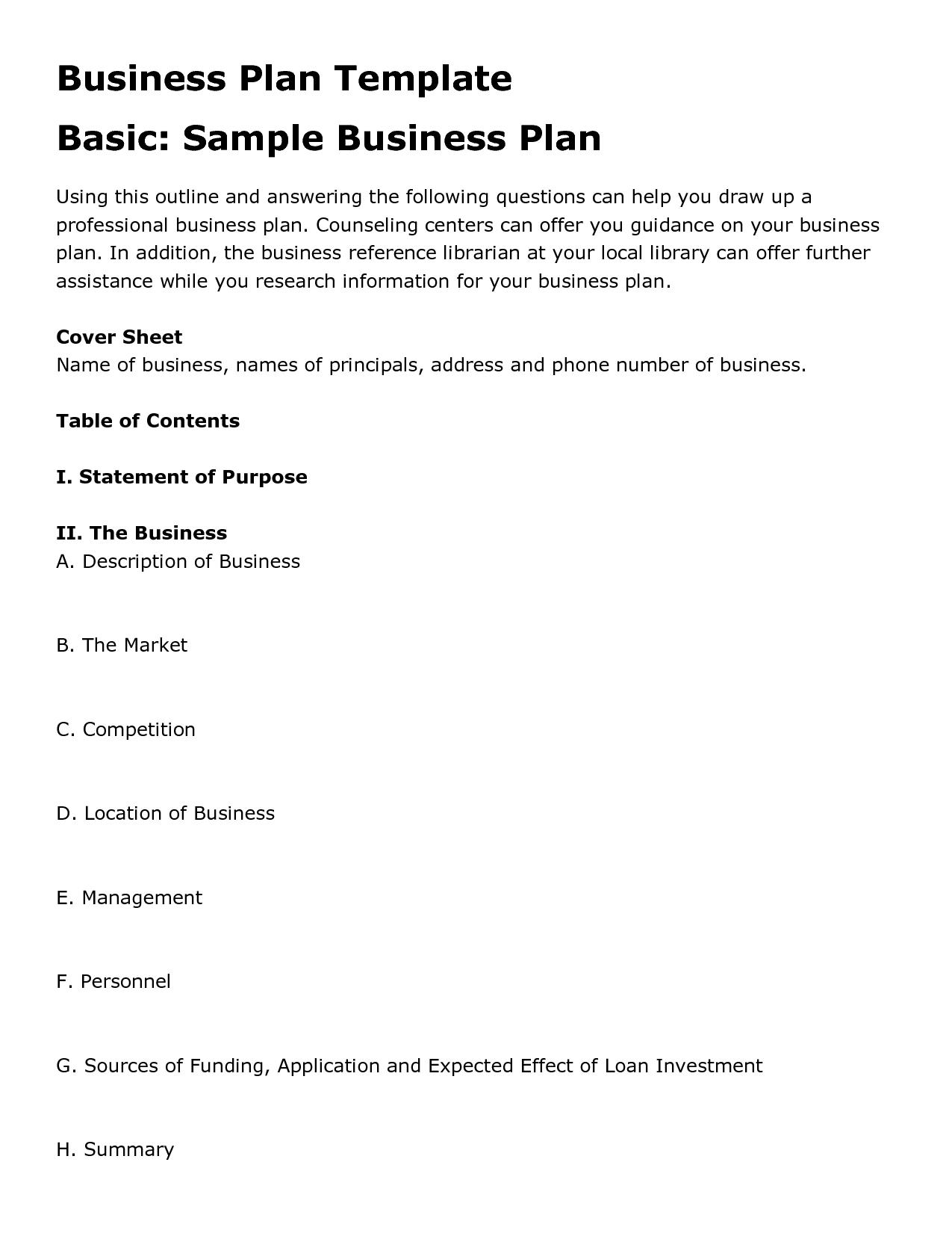 Printable Sample Business Plan Template Form | Forms And Template In - Free Printable Simple Business Plan Template