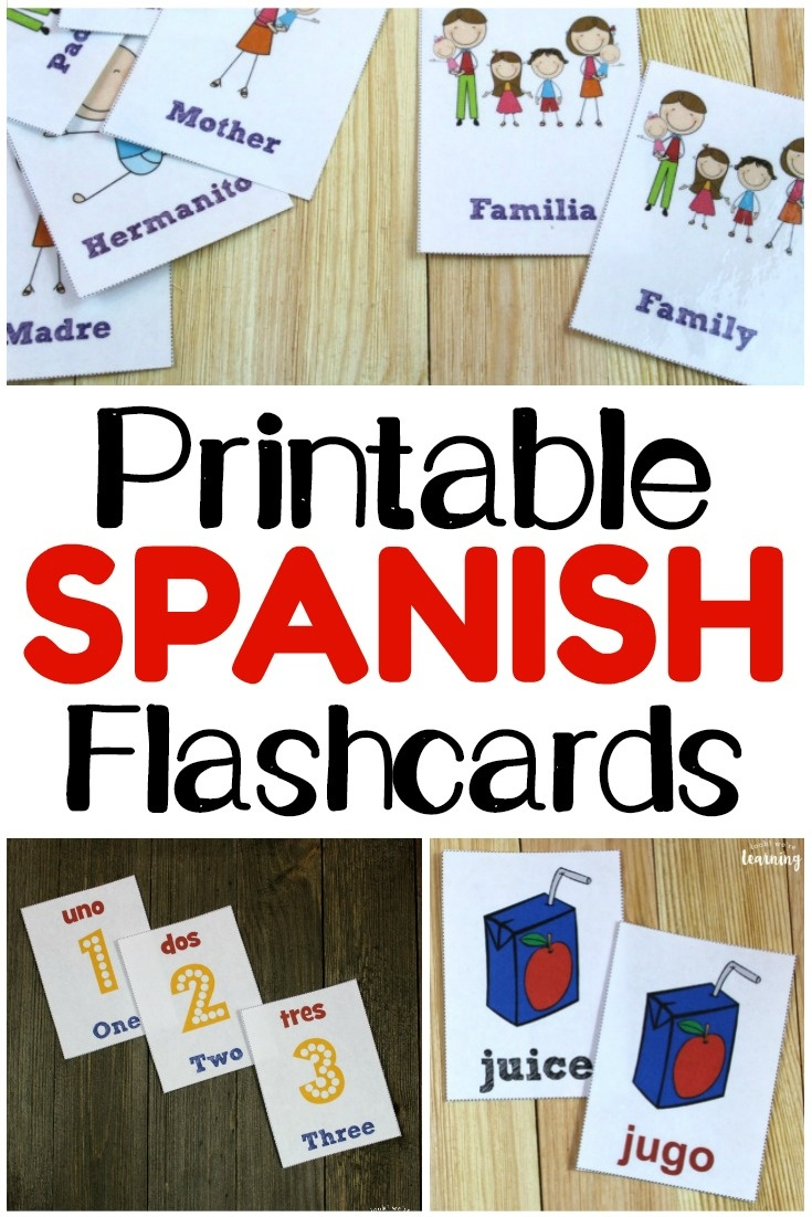 Printable Spanish Flashcards - Look! We're Learning! - Free Printable Spanish Verb Flashcards