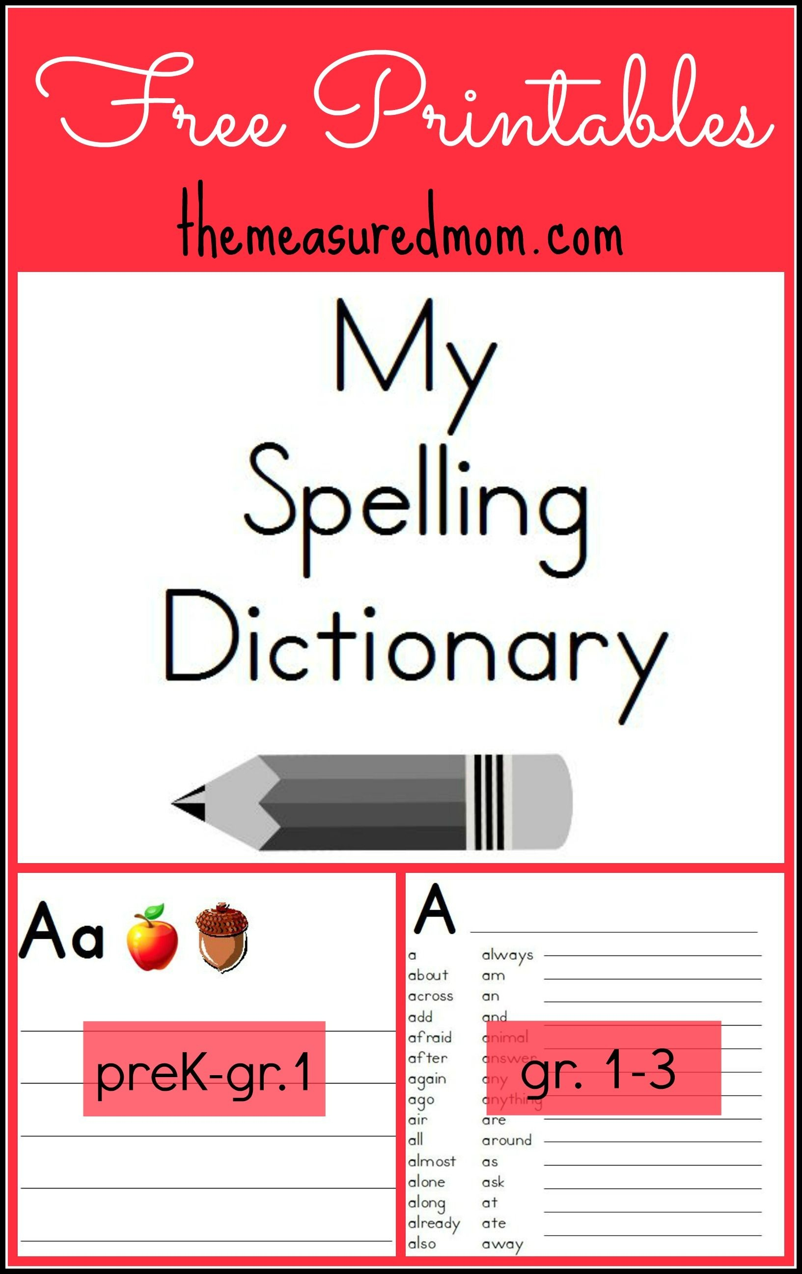 Printable Spelling Dictionary For Kids | Free Printables - Free Printable Picture Dictionary For Kids