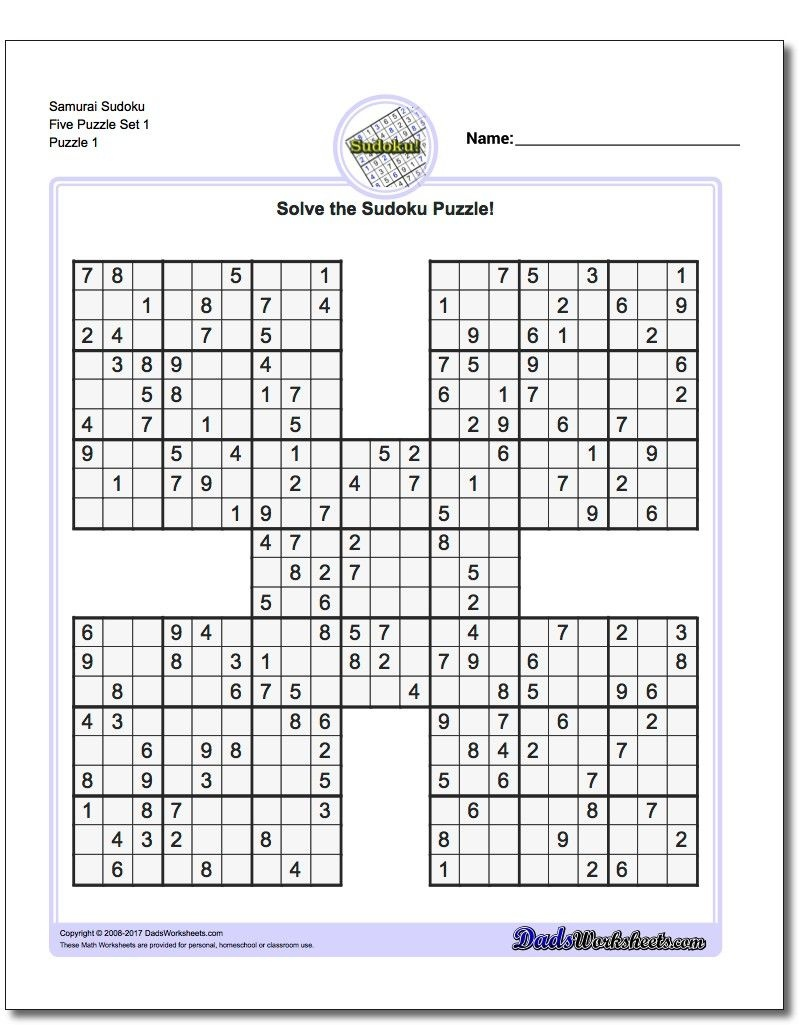 Printable Sudoku Samurai! Give These Puzzles A Try, And You'll Be - Free Printable Samurai Sudoku