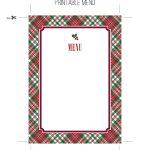 Printable Tartan Menu Template For Holiday Entertaining. Download   Christmas Menu Printable Template Free