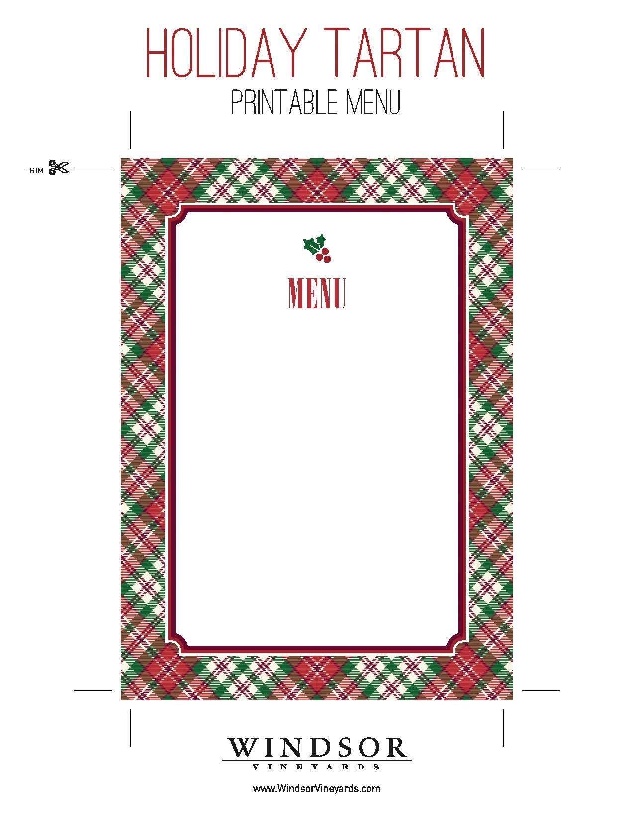 Printable Tartan Menu Template For Holiday Entertaining. Download - Christmas Menu Printable Template Free