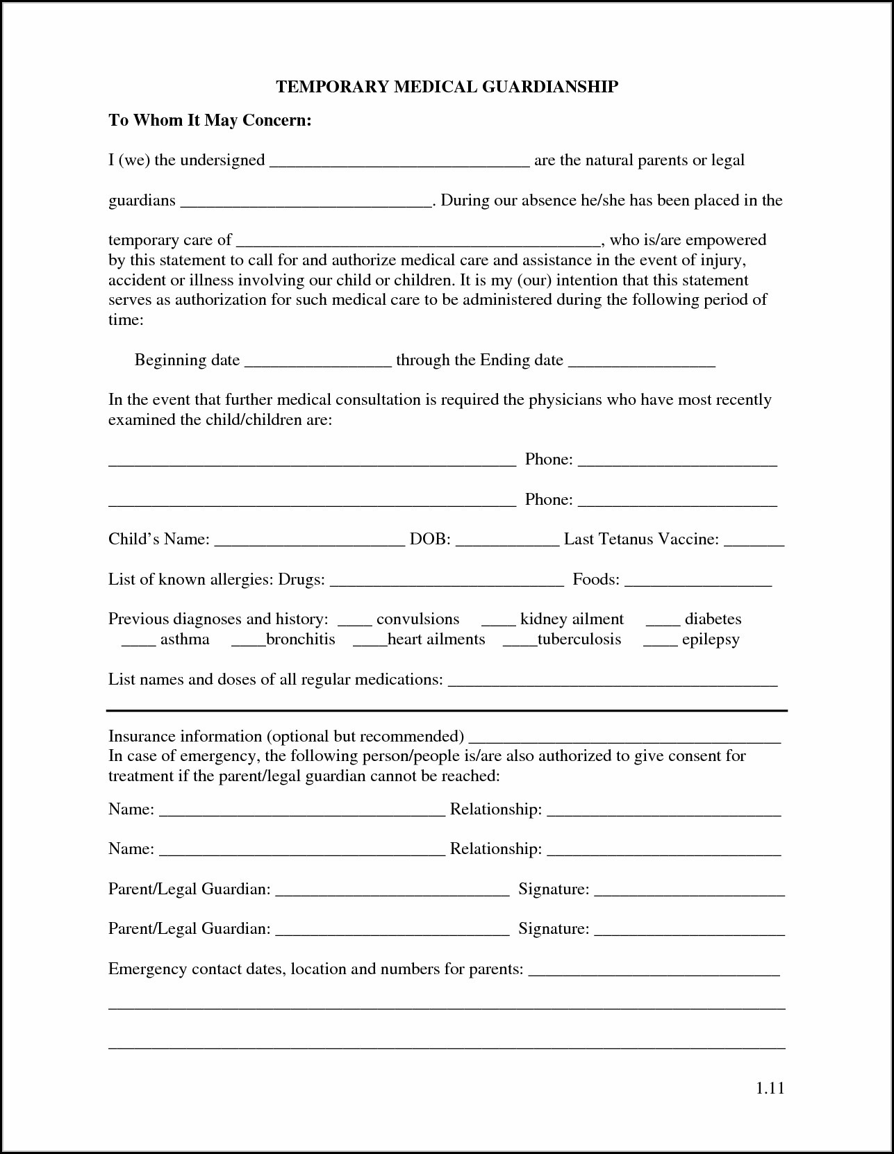 Printable Temporary Guardianship Forms - Form : Resume Examples - Free Printable Temporary Guardianship Form