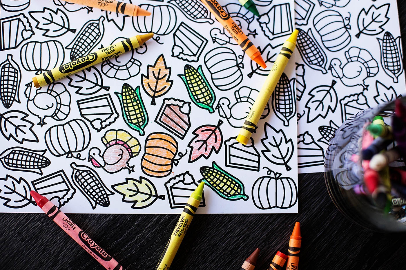 Printable Thanksgiving Coloring Placemat — All For The Boys - Free Printable Thanksgiving Coloring Placemats