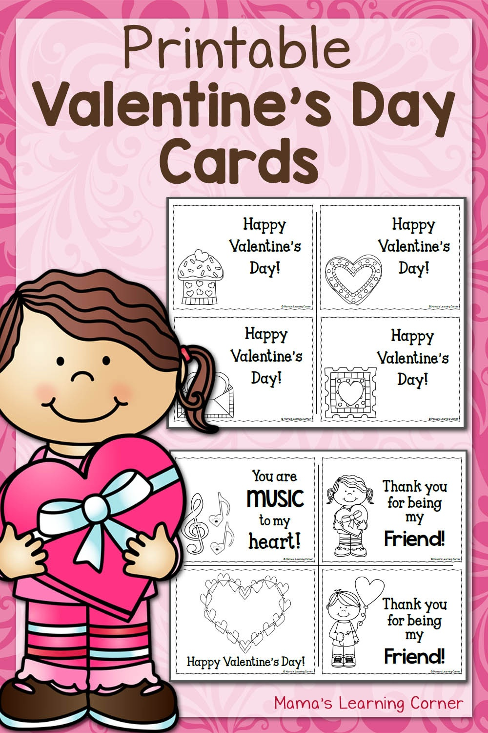 Printable Valentine's Day Cards - Mamas Learning Corner - Free Printable Valentines Day Cards Kids