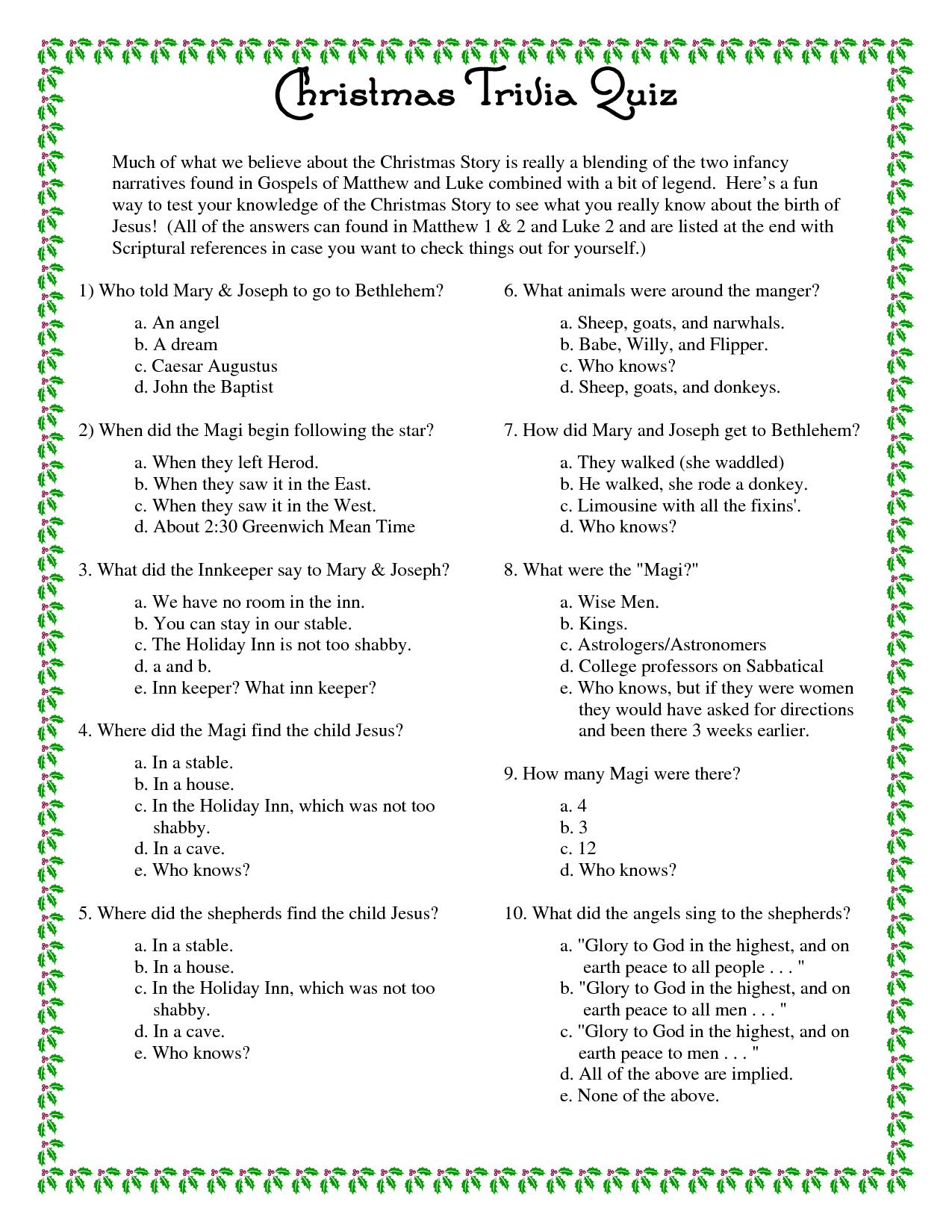 Printable+Christmas+Trivia+Questions+And+Answers | Christmas - Free Printable Trivia Questions And Answers