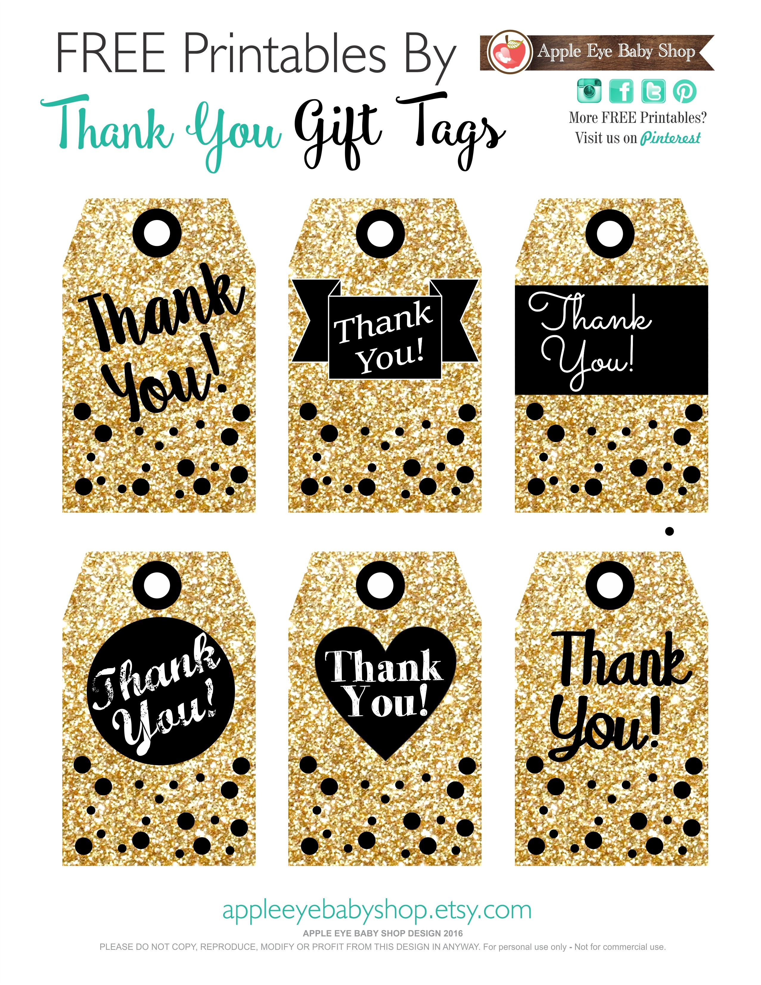 Printables Gift Tags Gold Glitter & Black | I ♥ Packaging Designs - Free Printable Thank You Tags For Birthdays