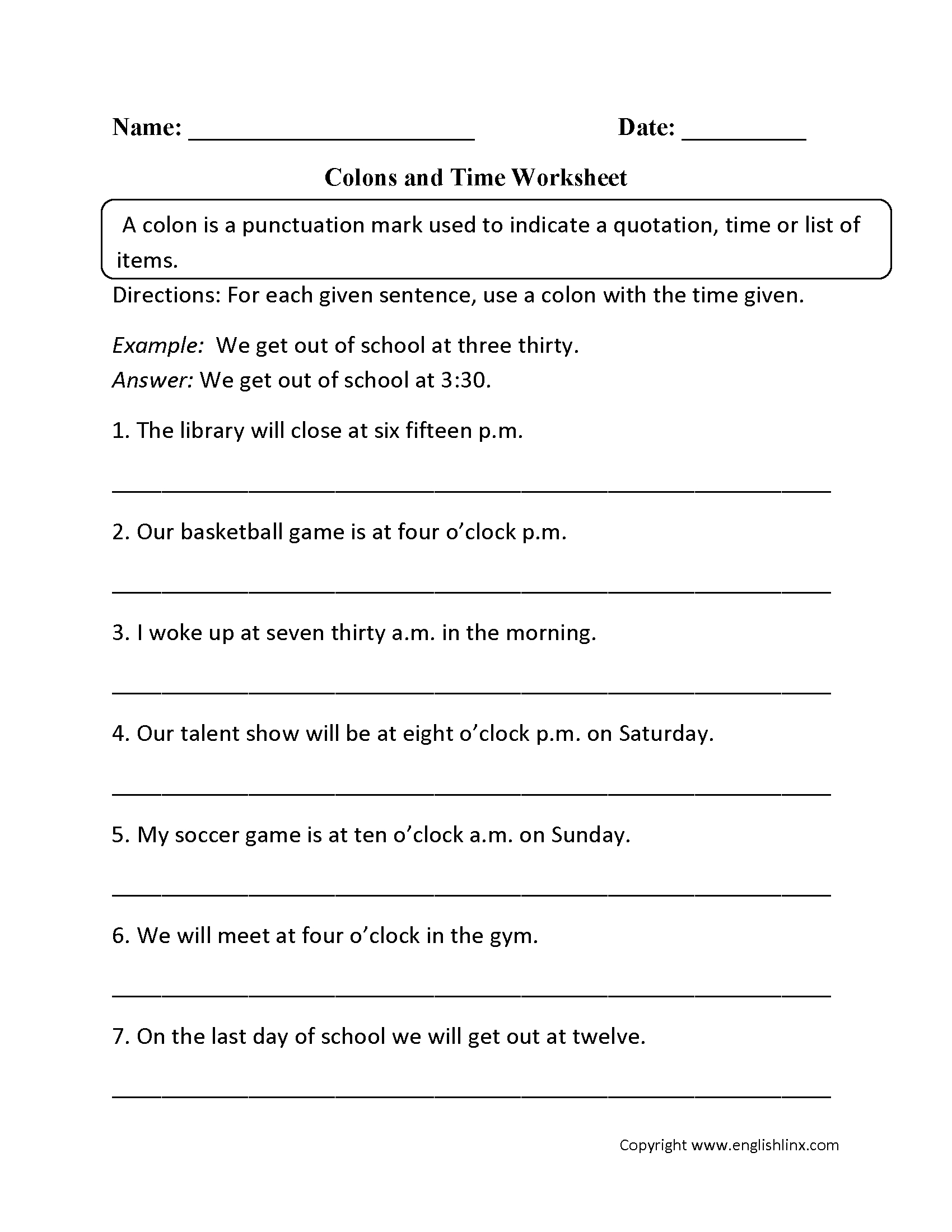 Punctuation Worksheets | Colon Worksheets - Free Printable 5 W's Worksheets