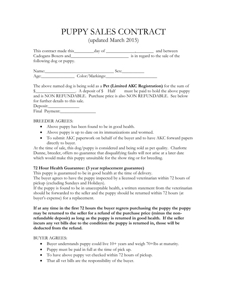 Puppy Sales Contract – Etaufal - Free Printable Puppy Sales Contract