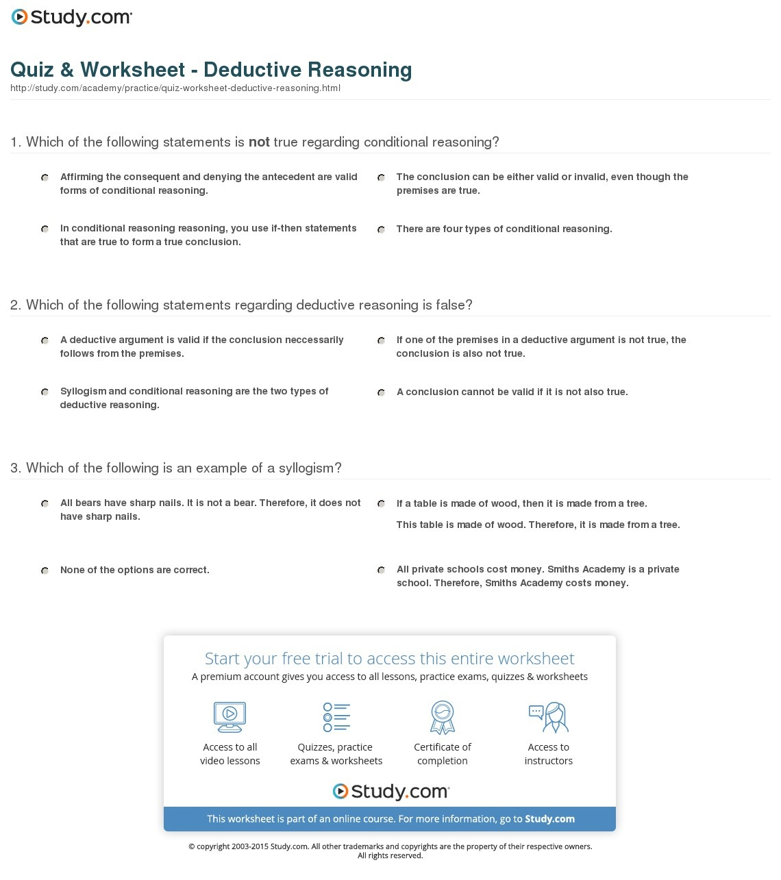 Quiz & Worksheet - Deductive Reasoning | Study - Free Printable Act Practice Worksheets