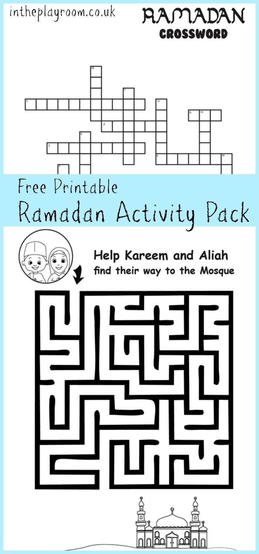 Ramadan Maze And Crossword Printable Activities - In The Playroom - Free Printable Activities For 6 Year Olds